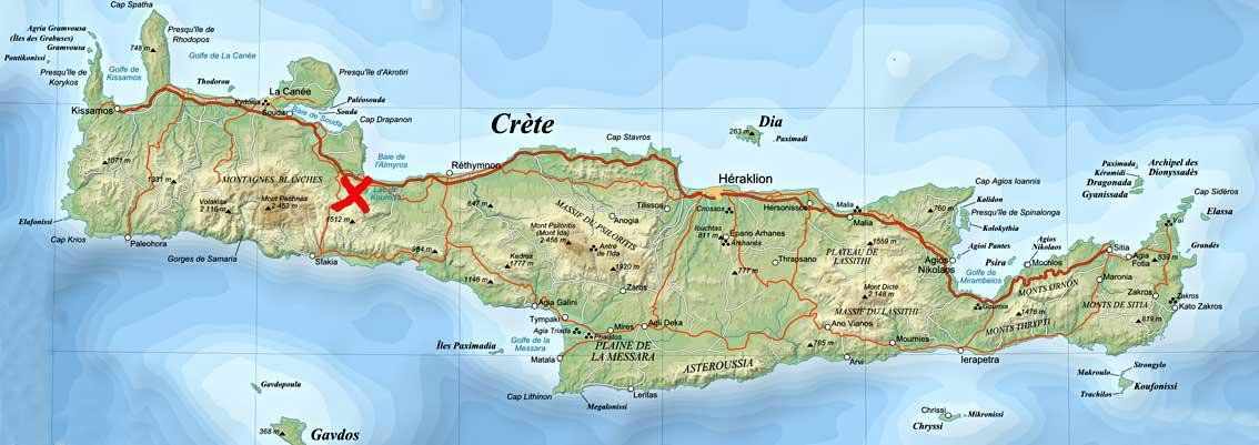 Carte Snorkeling Crete.Lac De Kournas En Crete